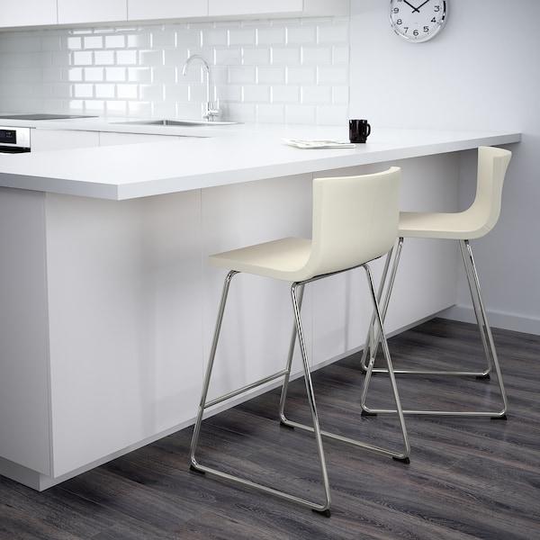 "BERNHARD bar stool with backrest chrome plated/Mjuk white 243 lb 18 7/8 "" 19 5/8 "" 35 3/8 "" 15 3/4 "" 15 "" 26 """