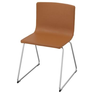 """BERNHARD chair chrome plated/Mjuk golden brown 243 lb 19 1/4 """" 19 5/8 """" 30 3/8 """" 17 3/4 """" 15 3/4 """" 18 1/2 """""""