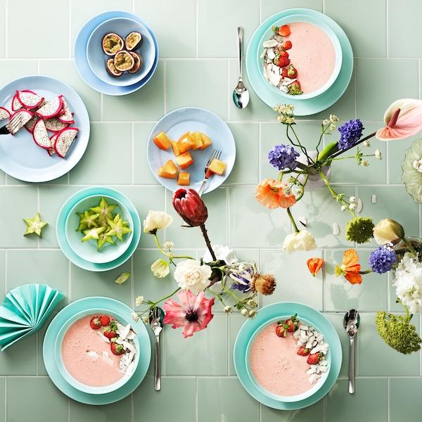 "BESEGRA Deep plate/bowl, light turquoise, 7 ¾ """
