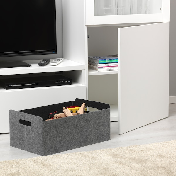 "BESTÅ Box, gray, 12 5/8x20 1/8x8 1/4 """