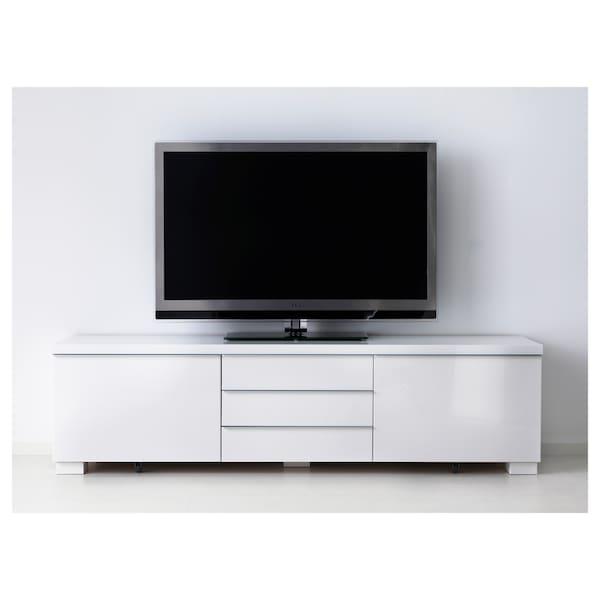 "BESTÅ BURS TV unit, high gloss white, 70 7/8x16 1/8x19 1/4 """