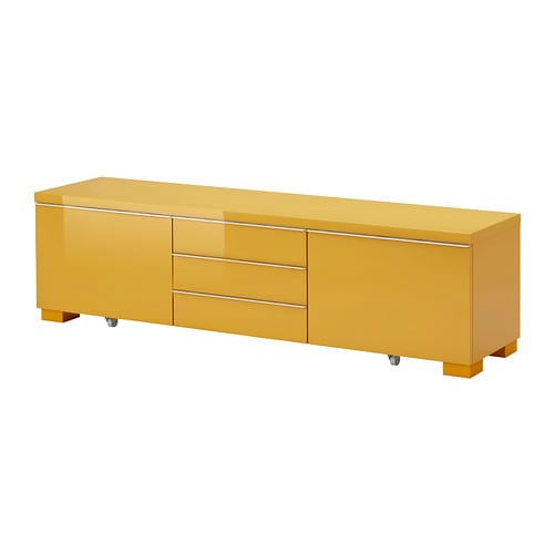 Best burs tv unit high gloss yellow ikea for Meuble besta ikea