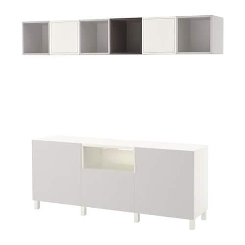 best eket tv storage combination white dark gray light gray drawer runner push open ikea. Black Bedroom Furniture Sets. Home Design Ideas