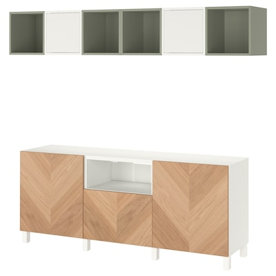 "BESTÅ / EKET TV storage combination, white/light green/oak veneer, 82 5/8x15 3/4x86 5/8 """