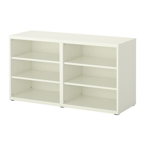 BESTÅ Shelf unit/height extension unit IKEA 4 adjustable shelves.  Adjustable feet for stability on uneven floors.