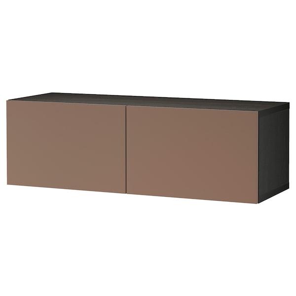 "BESTÅ Shelf unit with doors, black-brown/Lappviken light gray-brown, 47 1/4x16 1/2x15 """