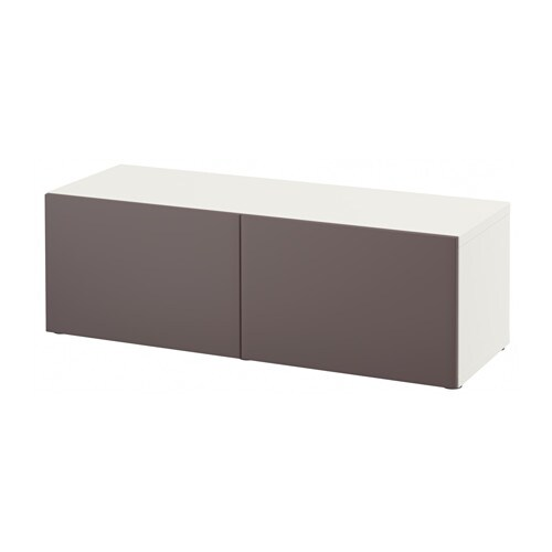 Besta Shelf Unit With Doors White Valviken Dark Brown 47 1 4x15