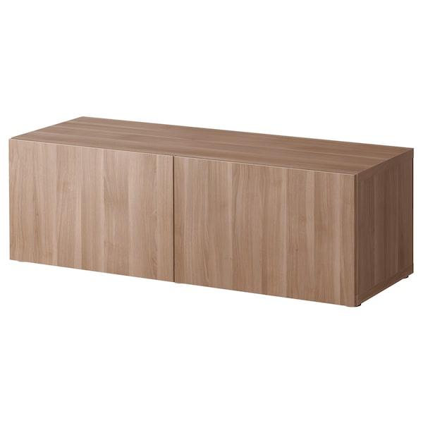 "BESTÅ Shelf unit with doors, walnut effect light gray/Lappviken walnut effect light gray, 47 1/4x16 1/2x15 """