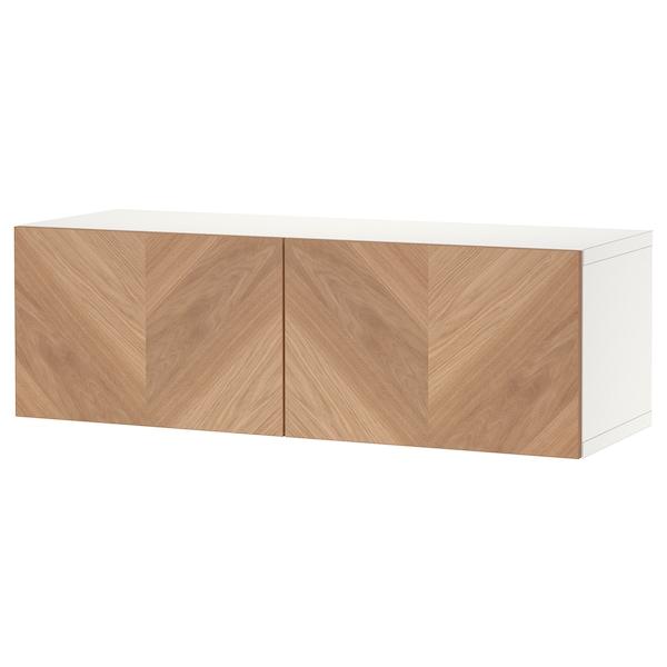 "BESTÅ Shelf unit with doors, white/Hedeviken oak veneer, 47 1/4x16 1/2x15 """