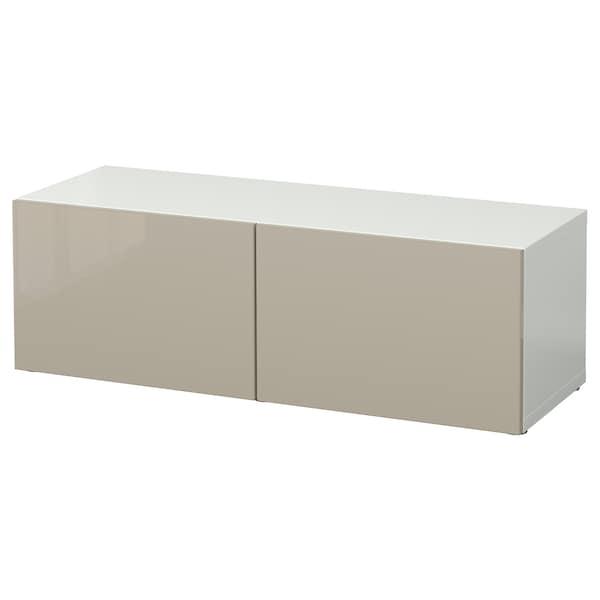 """BESTÅ Shelf unit with doors, white/Selsviken high-gloss/beige, 47 1/4x16 1/2x15 """""""