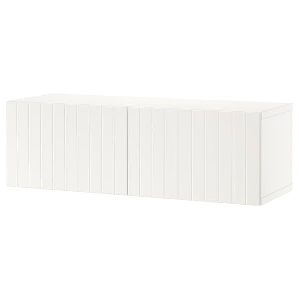 "BESTÅ Shelf unit with doors, white/Sutterviken white, 47 1/4x16 1/2x15 """