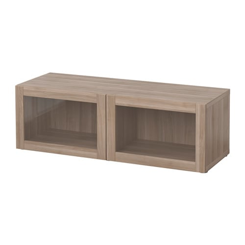 BEST Shelf Unit With Glass Doors Sindvik Walnut Effect