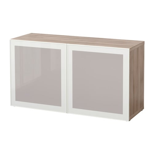 best shelf unit with glass doors walnut effect light gray glassvik white frosted glass 47 1. Black Bedroom Furniture Sets. Home Design Ideas