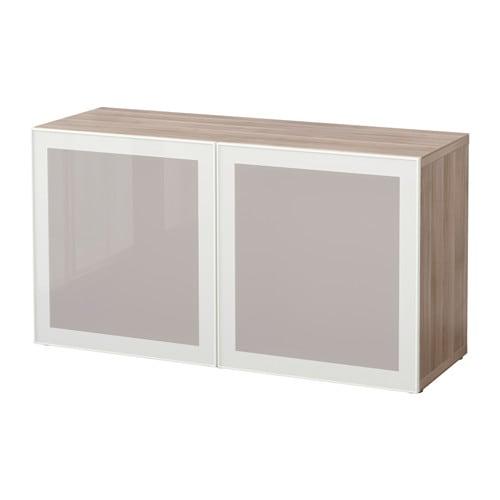 Glass doors walnut effect light gray glassvik white frosted glass