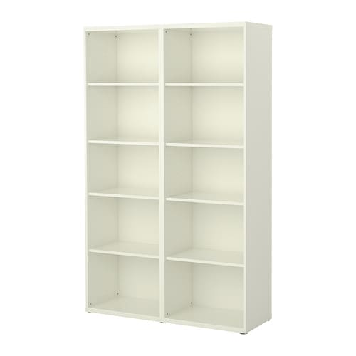 BESTÅ Shelf unit IKEA 8 adjustable shelves; adjust spacing according to your needs.  Adjustable feet for stability on uneven floors.