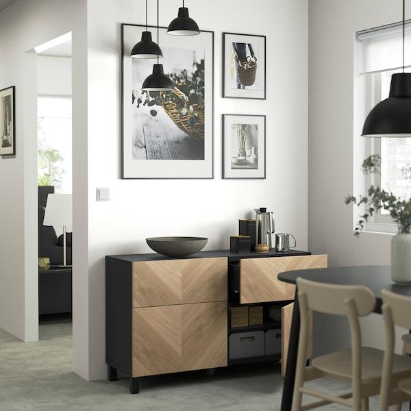 """BESTÅ Storage combination w doors/drawers, black-brown/Hedeviken/Stubbarp oak veneer, 47 1/4x16 1/2x29 1/8 """""""