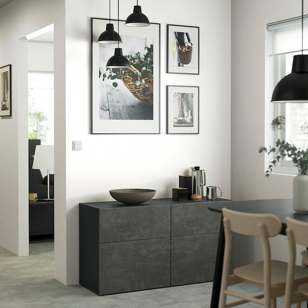 "BESTÅ Storage combination w doors/drawers, black-brown Kallviken/dark gray concrete effect, 47 1/4x16 1/2x25 5/8 """