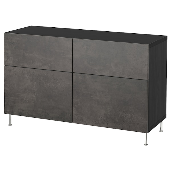 BESTÅ Storage combination w doors/drawers, black-brown Kallviken/Stallarp/dark gray concrete effect, 47 1/4x15 3/4x29 1/8 ""