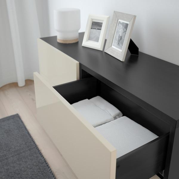 "BESTÅ Storage combination w doors/drawers, black-brown/Selsviken/Stallarp high-gloss/beige, 47 1/4x15 3/4x29 1/8 """