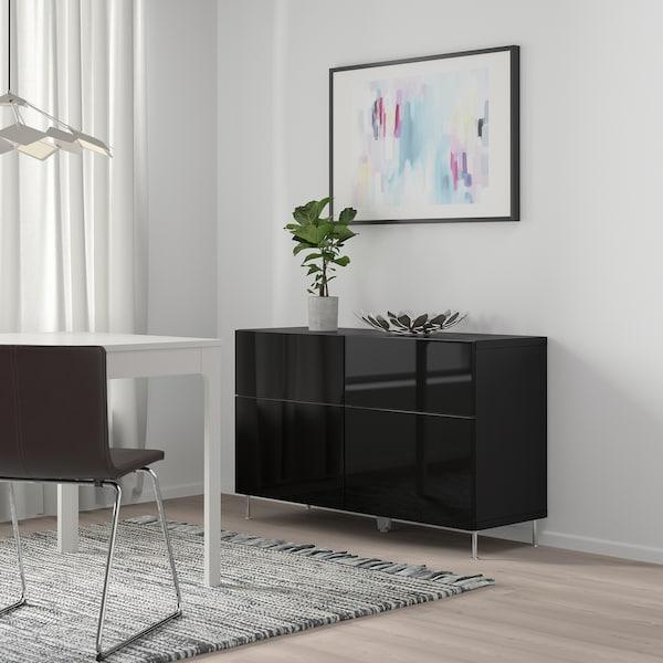 "BESTÅ Storage combination w doors/drawers, black-brown/Selsviken/Stallarp high-gloss/black, 47 1/4x15 3/4x29 1/8 """