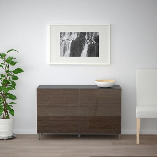 "BESTÅ Storage combination w doors/drawers, black-brown/Selsviken/Stallarp high-gloss/brown, 47 1/4x15 3/4x29 1/8 """