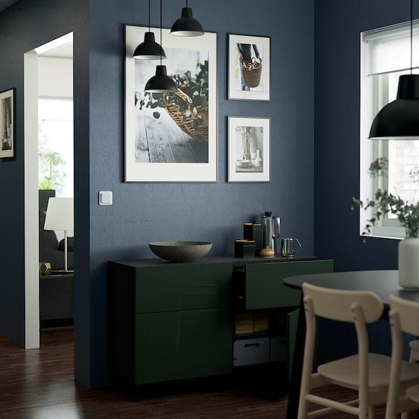 "BESTÅ Storage combination w doors/drawers, black-brown Selsviken/Stubbarp/high gloss dark olive-green, 47 1/4x16 1/2x29 1/8 """