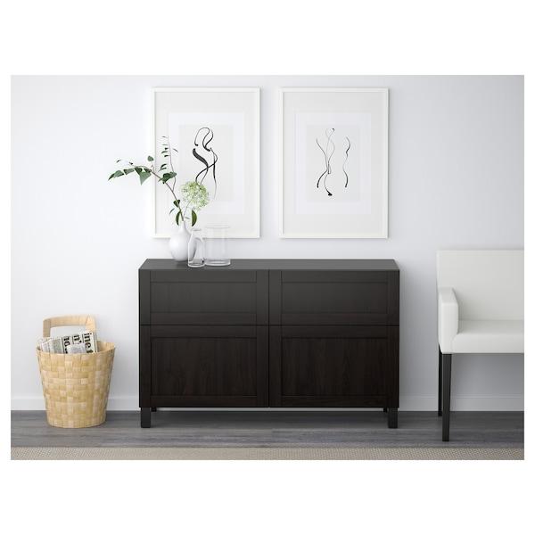 "BESTÅ Storage combination w doors/drawers, Hanviken black-brown, 47 1/4x15 3/4x29 1/8 """