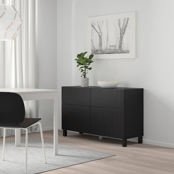 "BESTÅ Storage combination w doors/drawers, Lappviken black-brown, 47 1/4x15 3/4x29 1/8 """