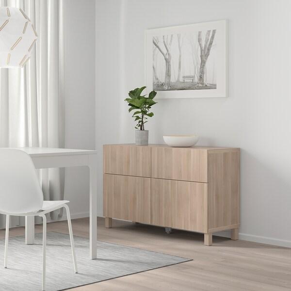 "BESTÅ Storage combination w doors/drawers, Lappviken walnut effect light gray, 47 1/4x15 3/4x29 1/8 """
