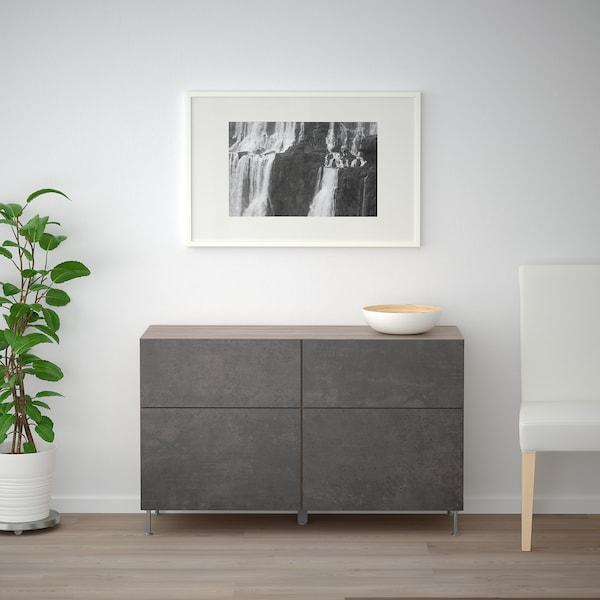 "BESTÅ Storage combination w doors/drawers, walnut effect light gray Kallviken/Stallarp/dark gray concrete effect, 47 1/4x15 3/4x29 1/8 """