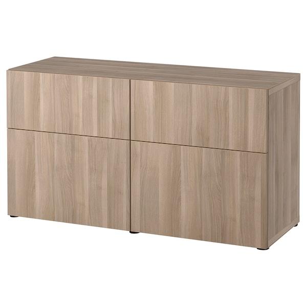 "BESTÅ Storage combination w doors/drawers, walnut effect light gray/Lappviken walnut effect light gray, 47 1/4x16 1/2x25 5/8 """