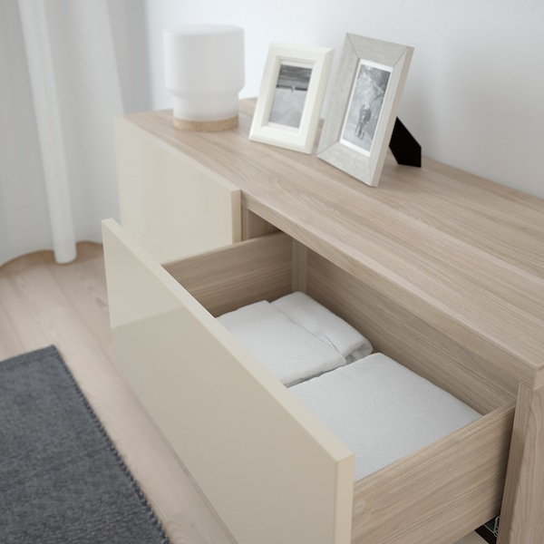 """BESTÅ Storage combination w doors/drawers, walnut effect light gray/Selsviken/Stallarp high-gloss/beige, 47 1/4x15 3/4x29 1/8 """""""