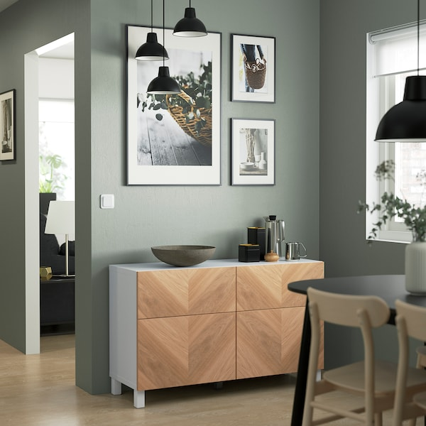 "BESTÅ Storage combination w doors/drawers, white/Hedeviken/Stubbarp oak veneer, 47 1/4x16 1/2x29 1/8 """
