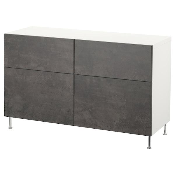 """BESTÅ Storage combination w doors/drawers, white Kallviken/Stallarp/dark gray concrete effect, 47 1/4x15 3/4x29 1/8 """""""