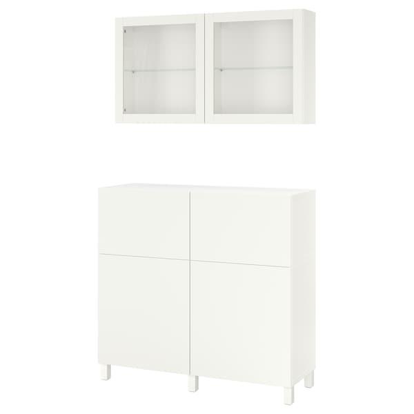 "BESTÅ Storage combination w doors/drawers, white/Lappviken/Stubbarp white clear glass, 47 1/4x16 1/2x94 1/2 """