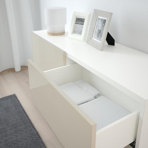 "BESTÅ Storage combination w doors/drawers, white/Selsviken/Stallarp high-gloss/beige, 47 1/4x15 3/4x29 1/8 """