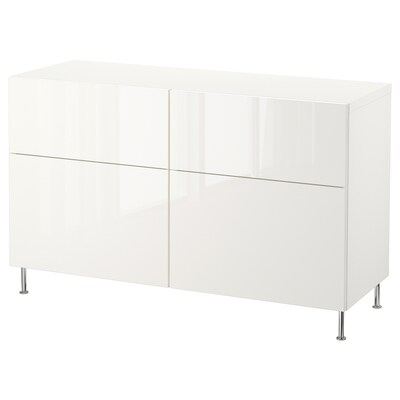 BESTÅ Storage combination w doors/drawers, white/Selsviken/Stallarp high-gloss/white, 47 1/4x15 3/4x29 1/8 ""