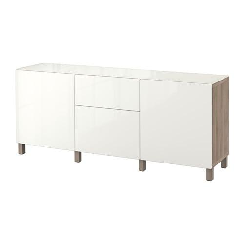 best storage combination w doors drawers walnut effect light gray selsviken high gloss white. Black Bedroom Furniture Sets. Home Design Ideas