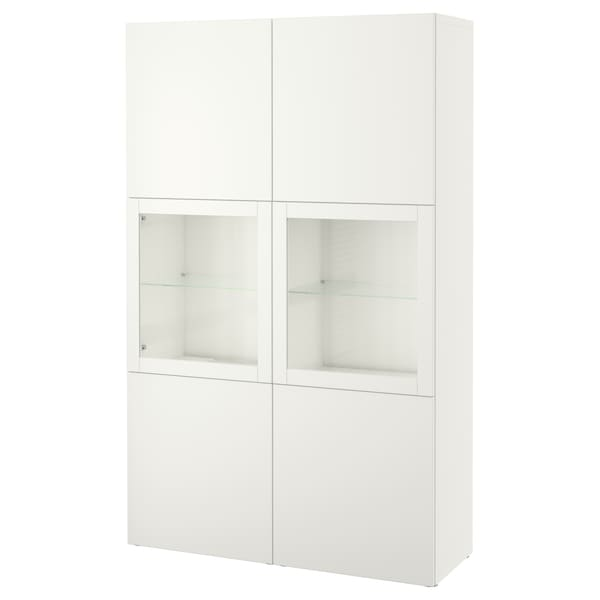 "BESTÅ Storage combination w/glass doors, white Lappviken/Sindvik white clear glass, 47 1/4x16 1/2x76 """