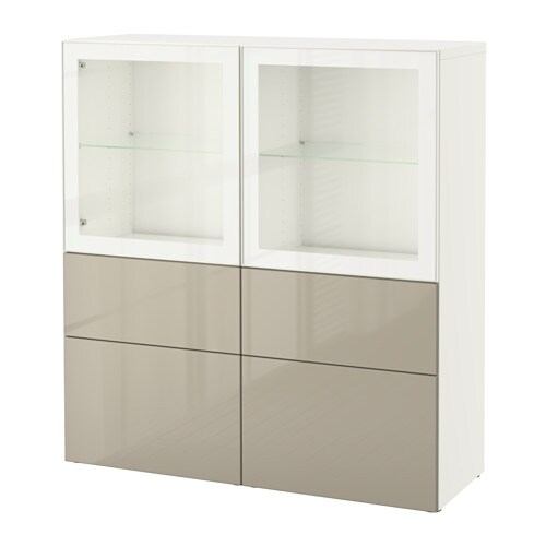 best storage combination w glass doors white selsviken high gloss beige clear glass drawer. Black Bedroom Furniture Sets. Home Design Ideas