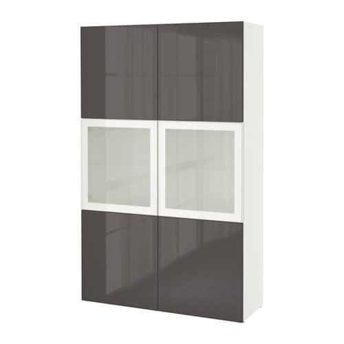 ... glass doors - white/Selsviken high-gloss/gray frosted glass - IKEA