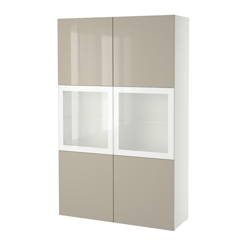 best storage combination w glass doors white selsviken high gloss beige frosted glass ikea. Black Bedroom Furniture Sets. Home Design Ideas