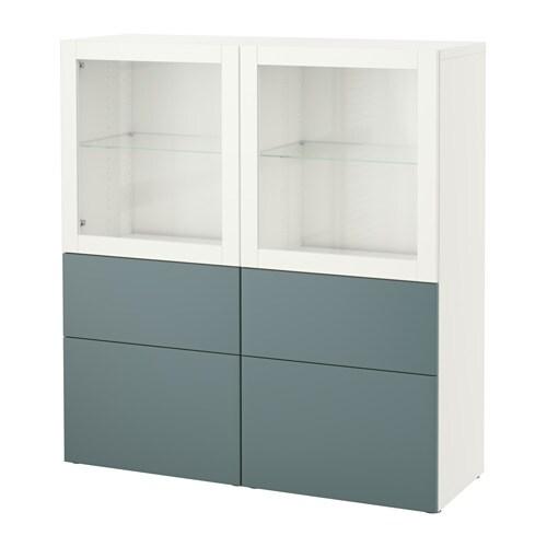 Vitrine Ikea Besta ~  grayturquoise clear glass, drawer runner, softclosing  IKEA