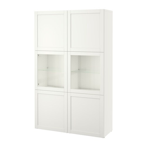 best storage combination w glass doors hanviken sindvik white clear glass ikea. Black Bedroom Furniture Sets. Home Design Ideas