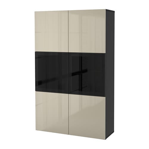 best storage combination w glass doors black brown selsviken high gloss beige clear glass ikea. Black Bedroom Furniture Sets. Home Design Ideas