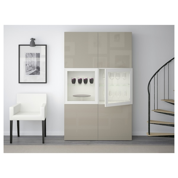 "BESTÅ storage combination w/glass doors white/Selsviken high gloss/beige clear glass 47 1/4 "" 15 3/4 "" 75 5/8 """