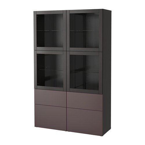 best storage combination w glass doors black brown valviken dark brown clear glass drawer. Black Bedroom Furniture Sets. Home Design Ideas