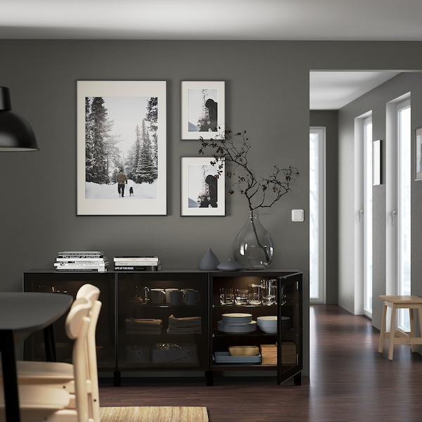 "BESTÅ Storage combination with doors, black-brown/Glassvik/Stubbarp black/smoked glass, 70 7/8x16 1/2x29 1/8 """