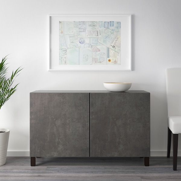 "BESTÅ Storage combination with doors, black-brown Kallviken/dark gray concrete effect, 47 1/4x16 1/2x25 5/8 """