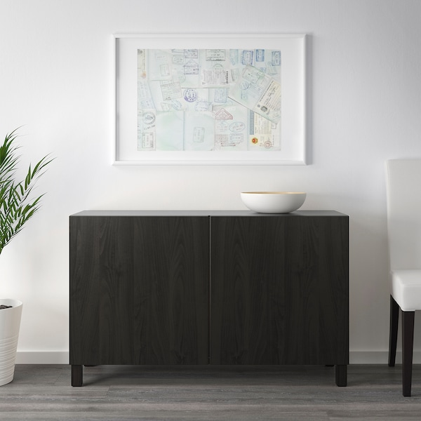 "BESTÅ Storage combination with doors, black-brown/Lappviken/Stubbarp black-brown, 47 1/4x16 1/2x29 1/8 """